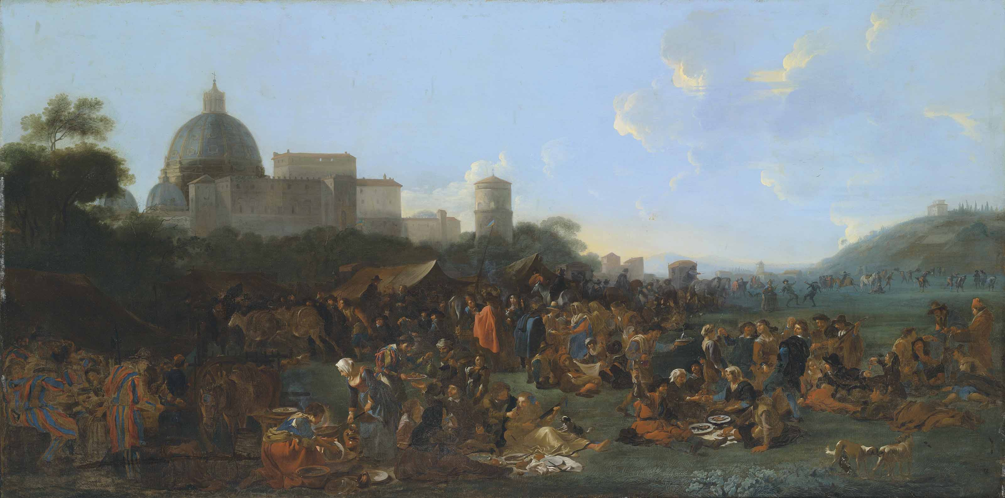 Figures feasting at a fair in Prati, outside the walls of Rome, with the Basilica di San Pietro and Monte Mario beyond