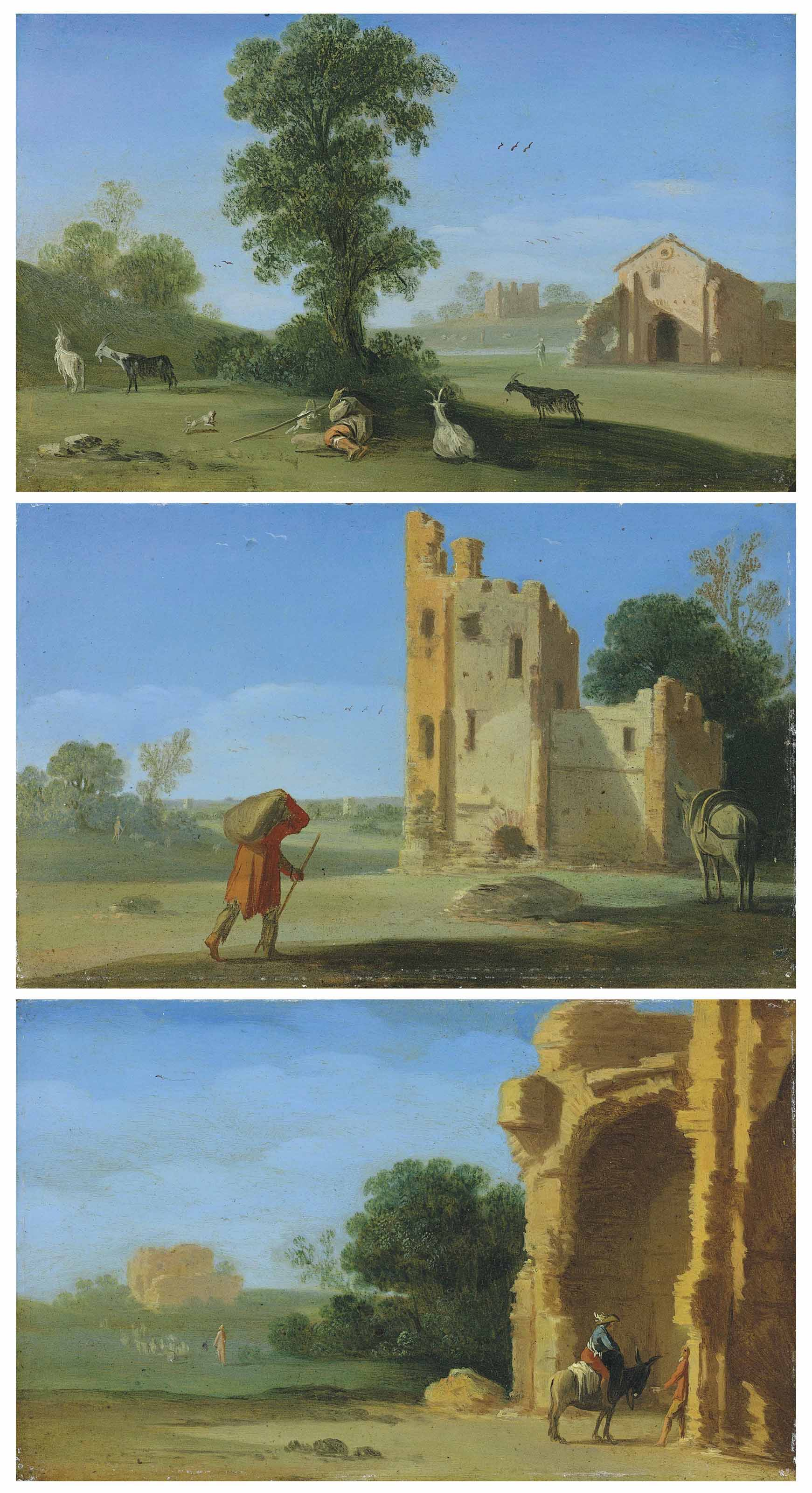 An Italianate landscape with a goatherd resting beneath a tree; An Italianate landscape with a traveller near a ruined building; and An Italianate landscape with travellers near a ruined building, a villa beyond