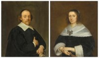 Portrait of a gentleman, half-length, in a black coat and cloak; and Portrait of a lady, half-length, in a black gown and a lace-trimmed flat collar and cuffs