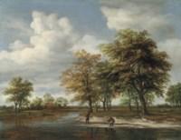 A river landscape with fishermen