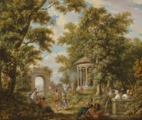 A bacchanal by a temple in a wooded landscape