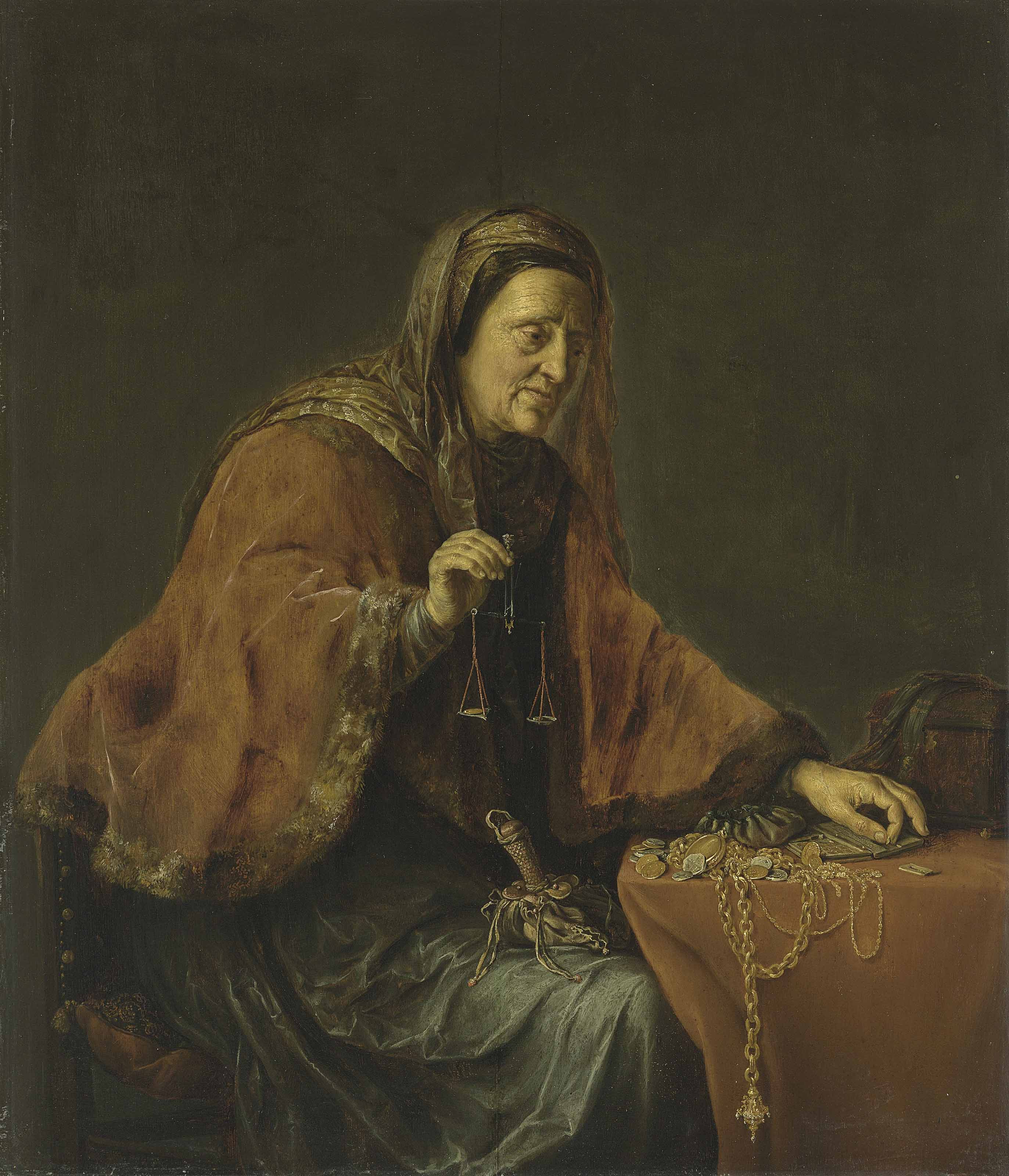 An old woman weighing gold, or Allegory of Avarice