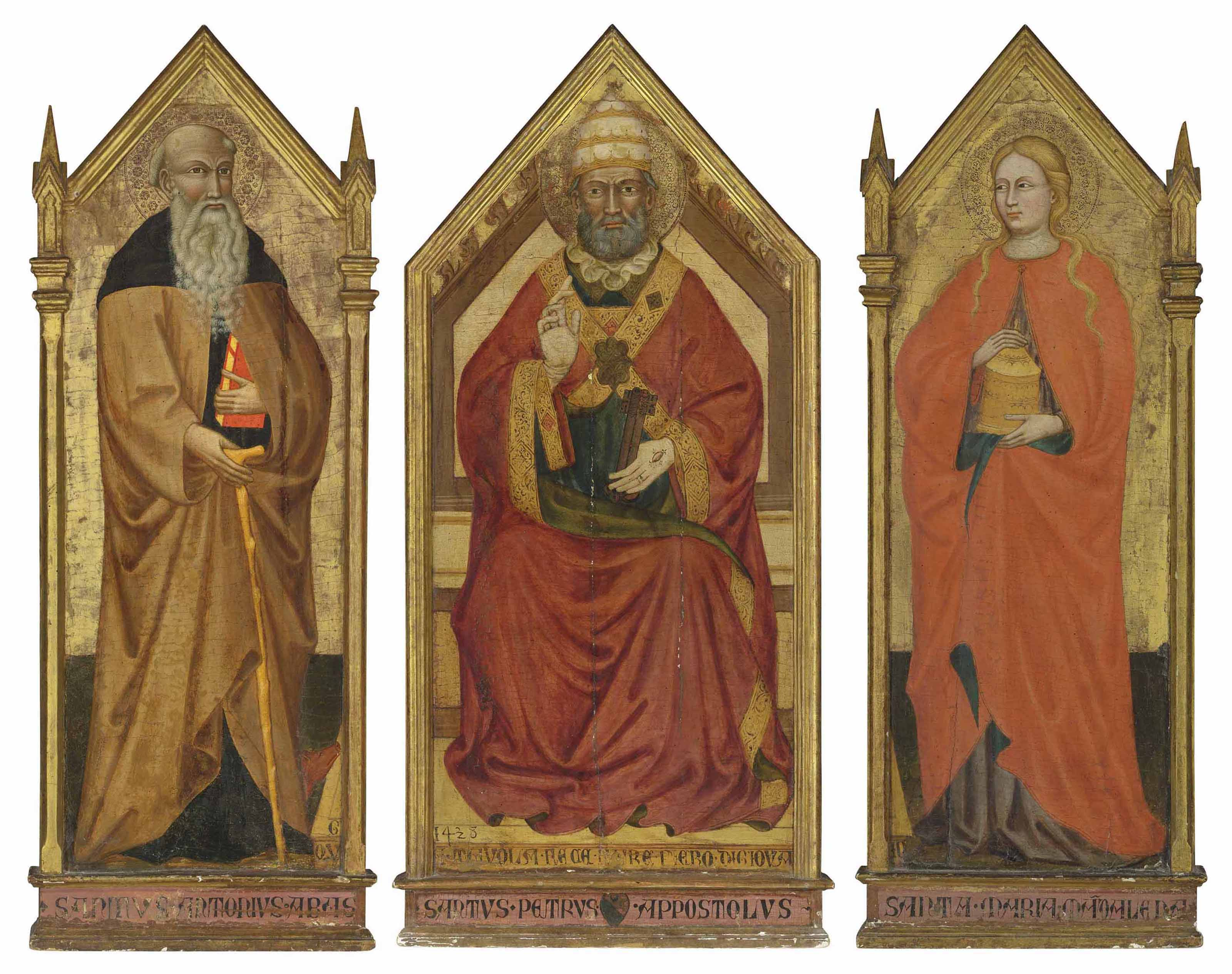 A triptych: the central panel: Saint Peter enthroned; the left wing: Saint Anthony Abbot; the right wing: Saint Mary Magdalene