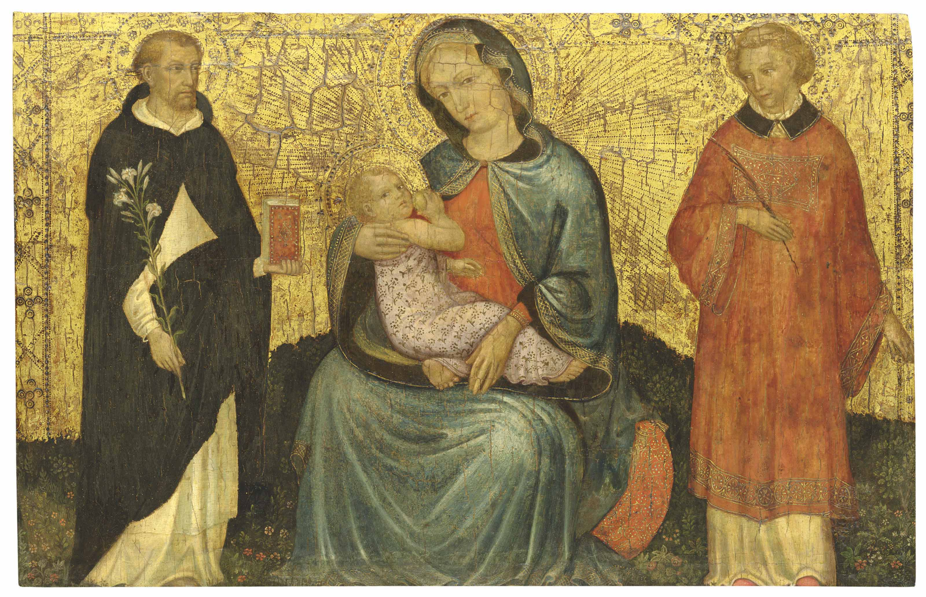 The Madonna of Humility with Saint Dominic and another male saint