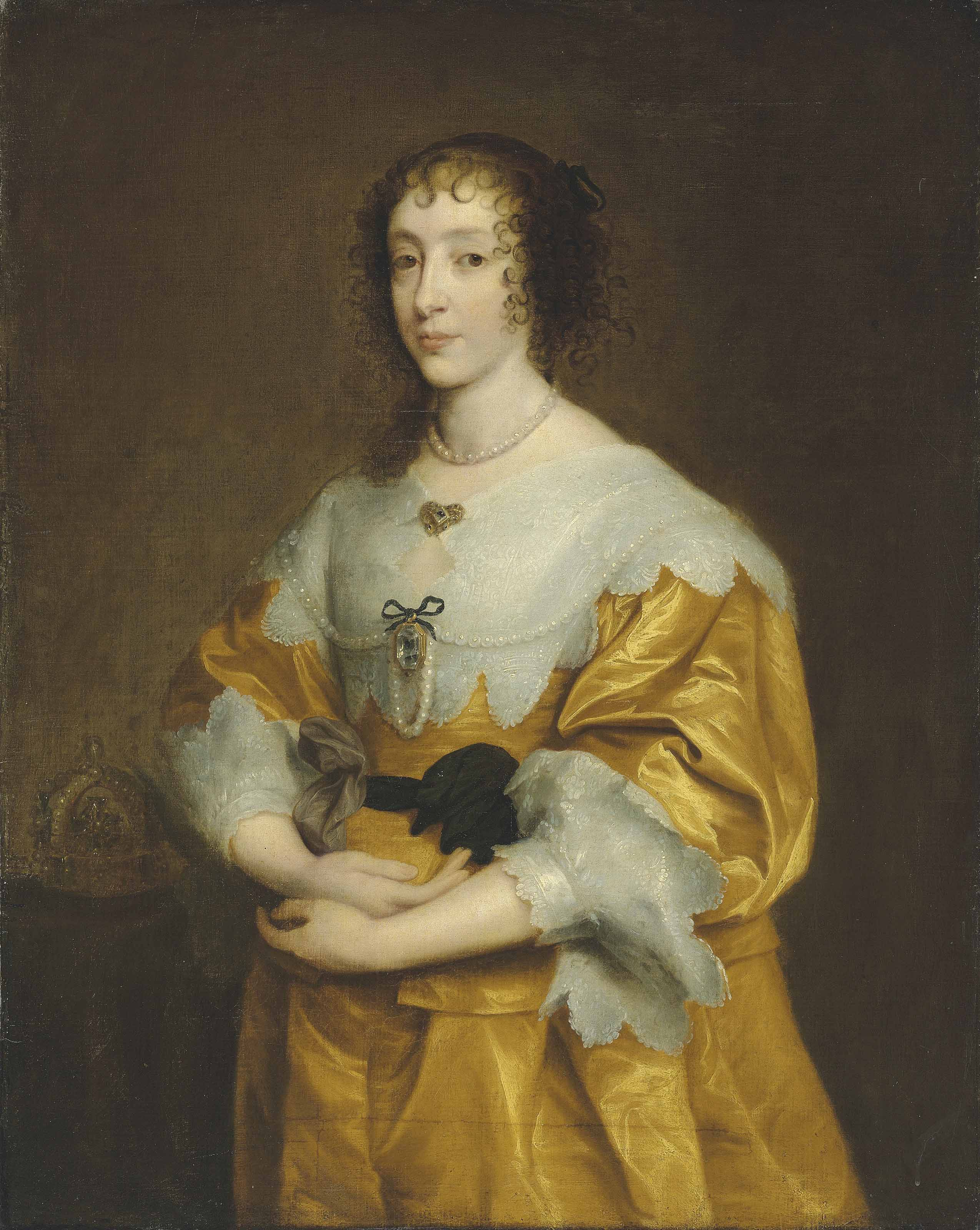Portrait of Queen Henrietta Maria (1609-1669), three-quarter-length, in a gold satin dress and lace collar and cuffs