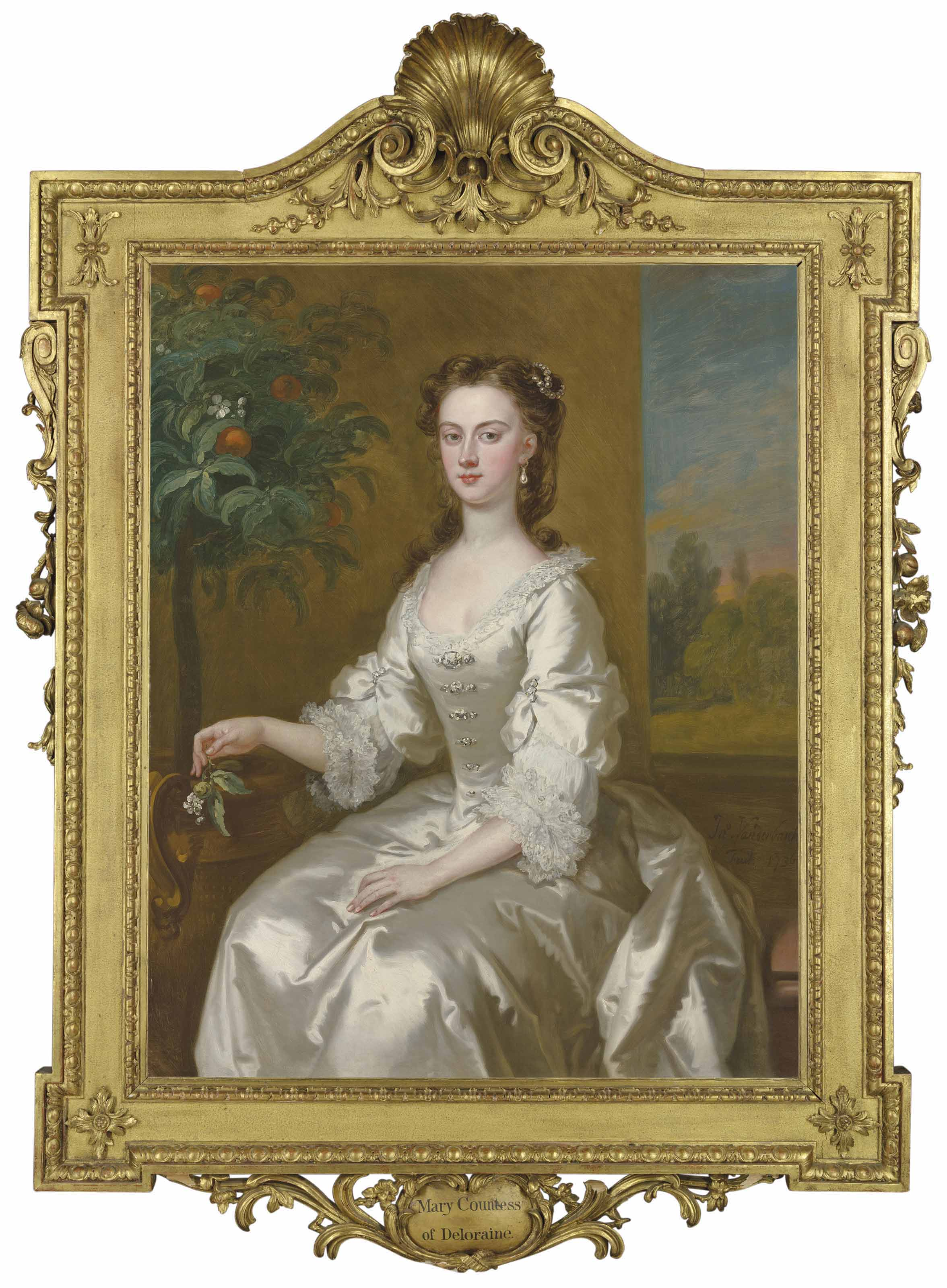 Mary, Countess of Delorain (1705-1737), three-quarter length, in a white dress by an orange tree, a landscape beyond