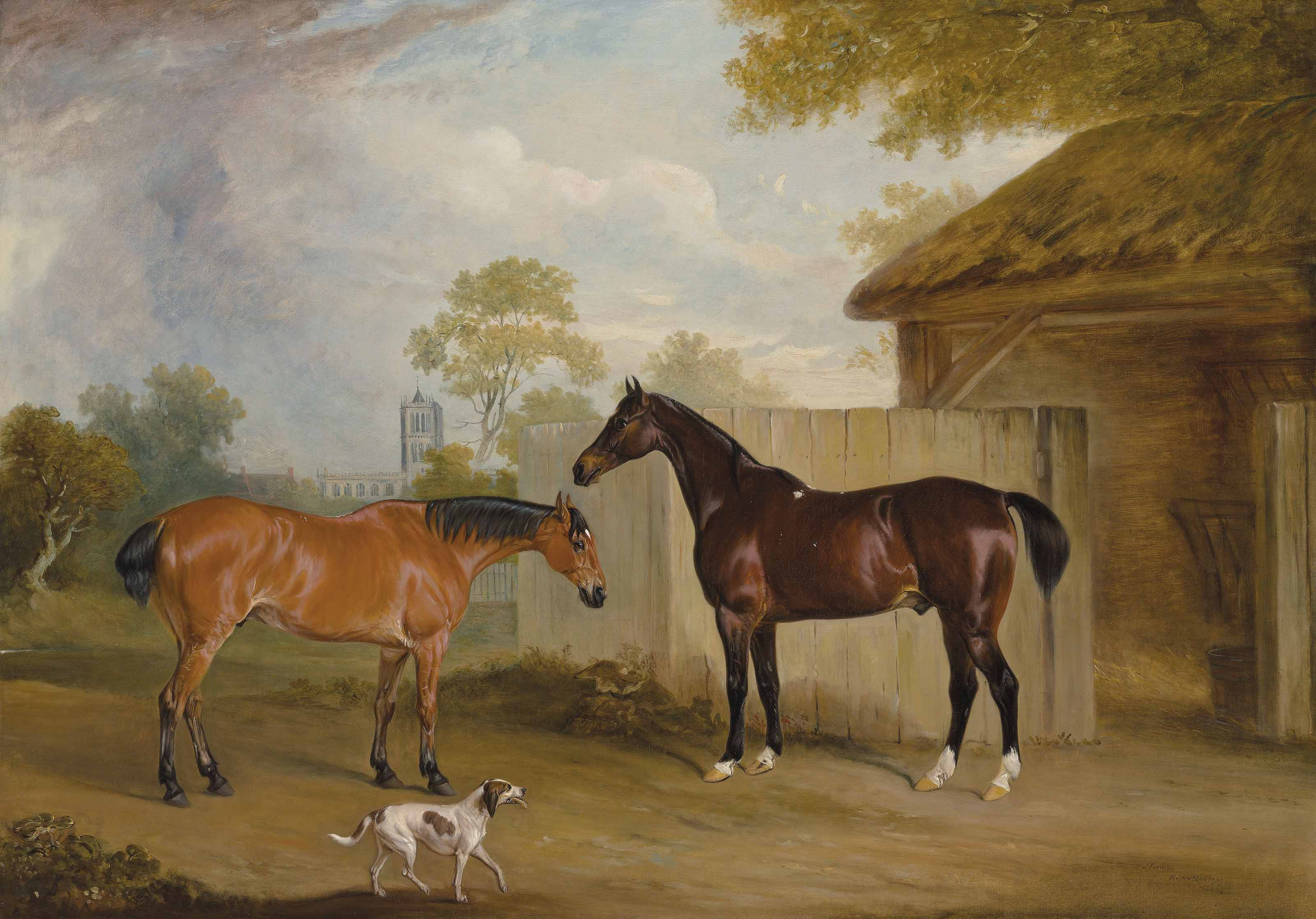 Mr. William Massey Stanley's hunters Eventful and Ranksbro, with a hound