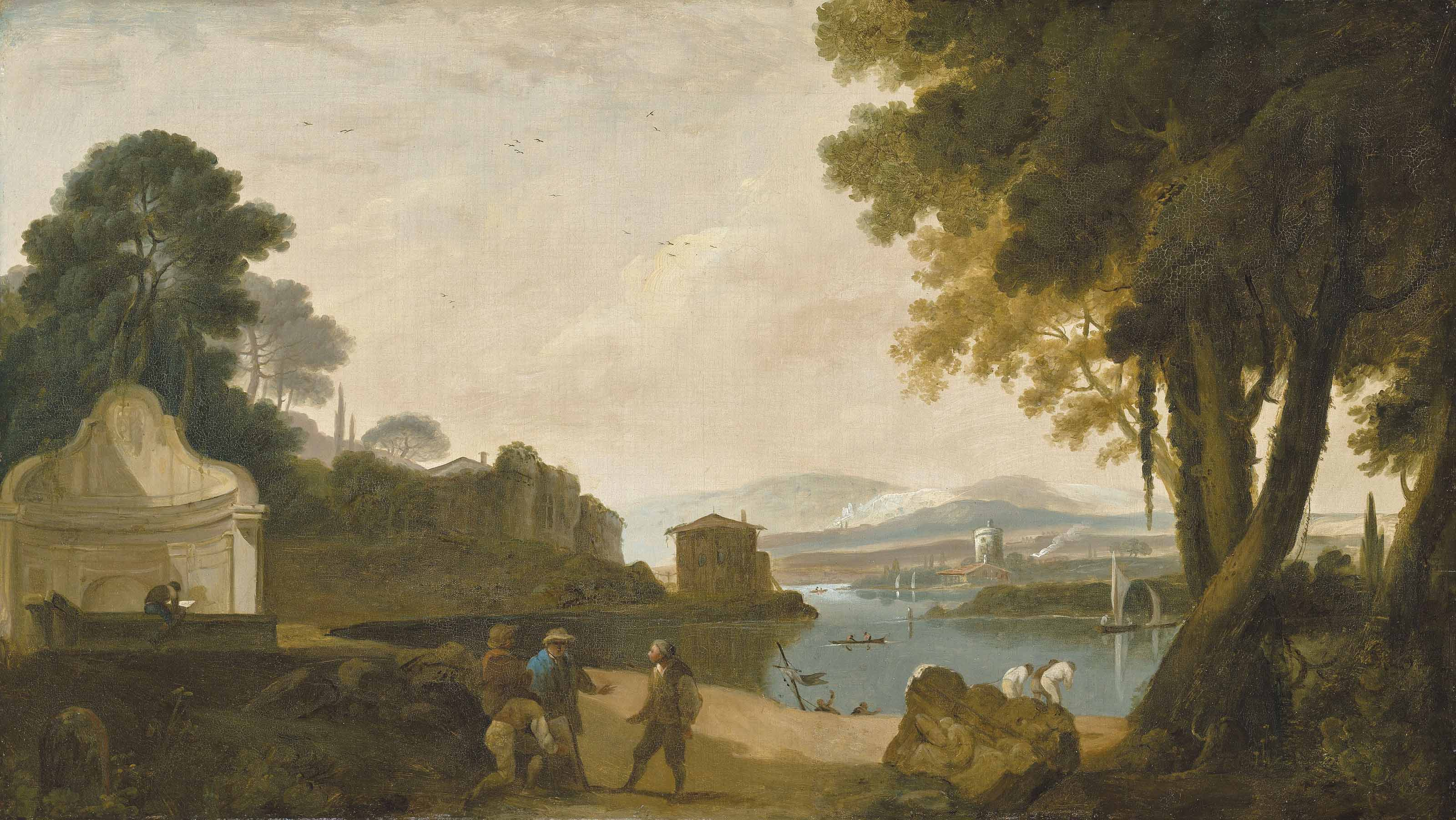 Acqua Acetosa, Rome, with figures by the water