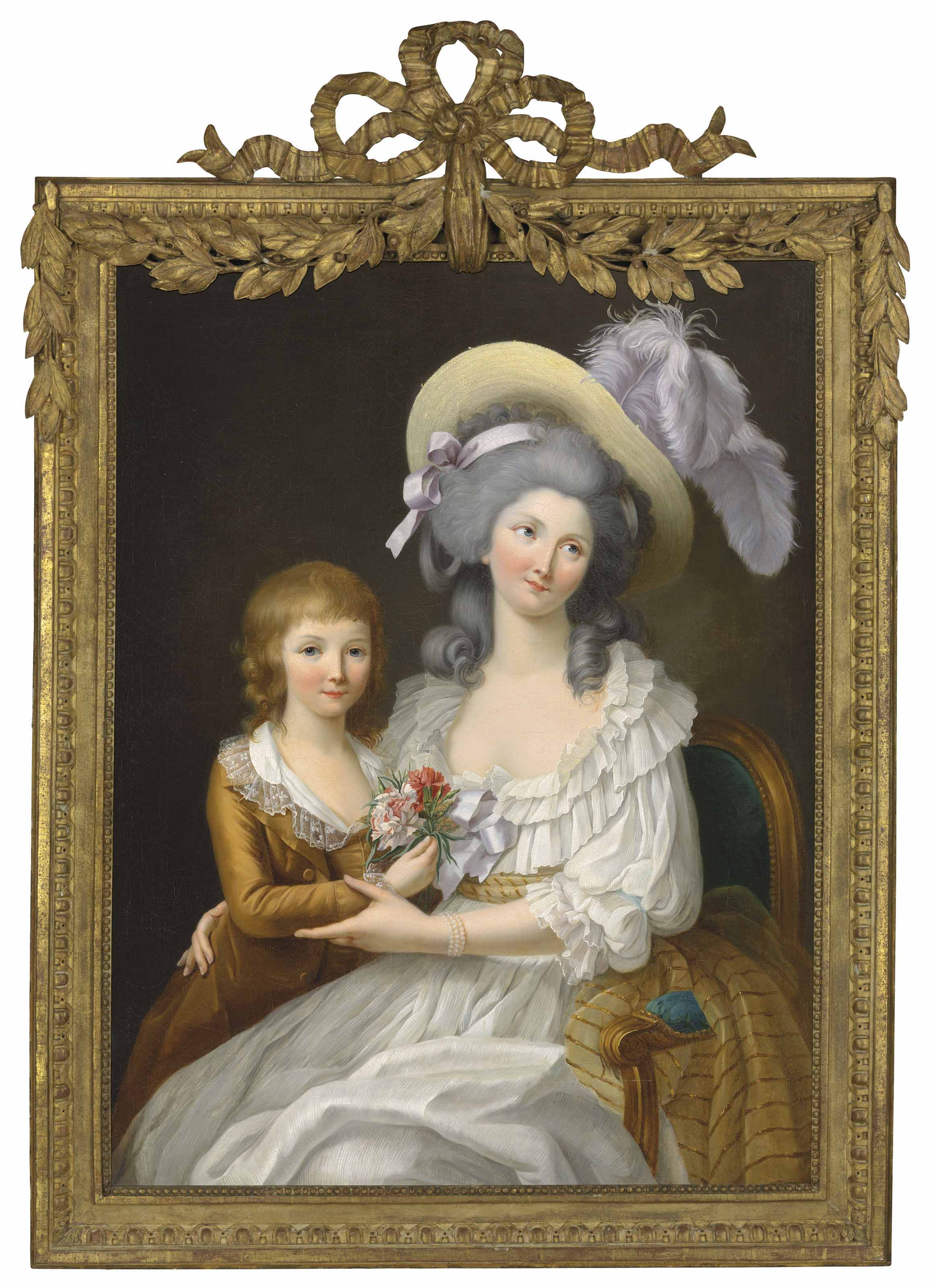 Double portrait of Marie-Thérèse of France (1778-1815), Duchesse d'Angoulême, with her brother Louis XVII (1785-1795), three-quarter length, seated in an interior