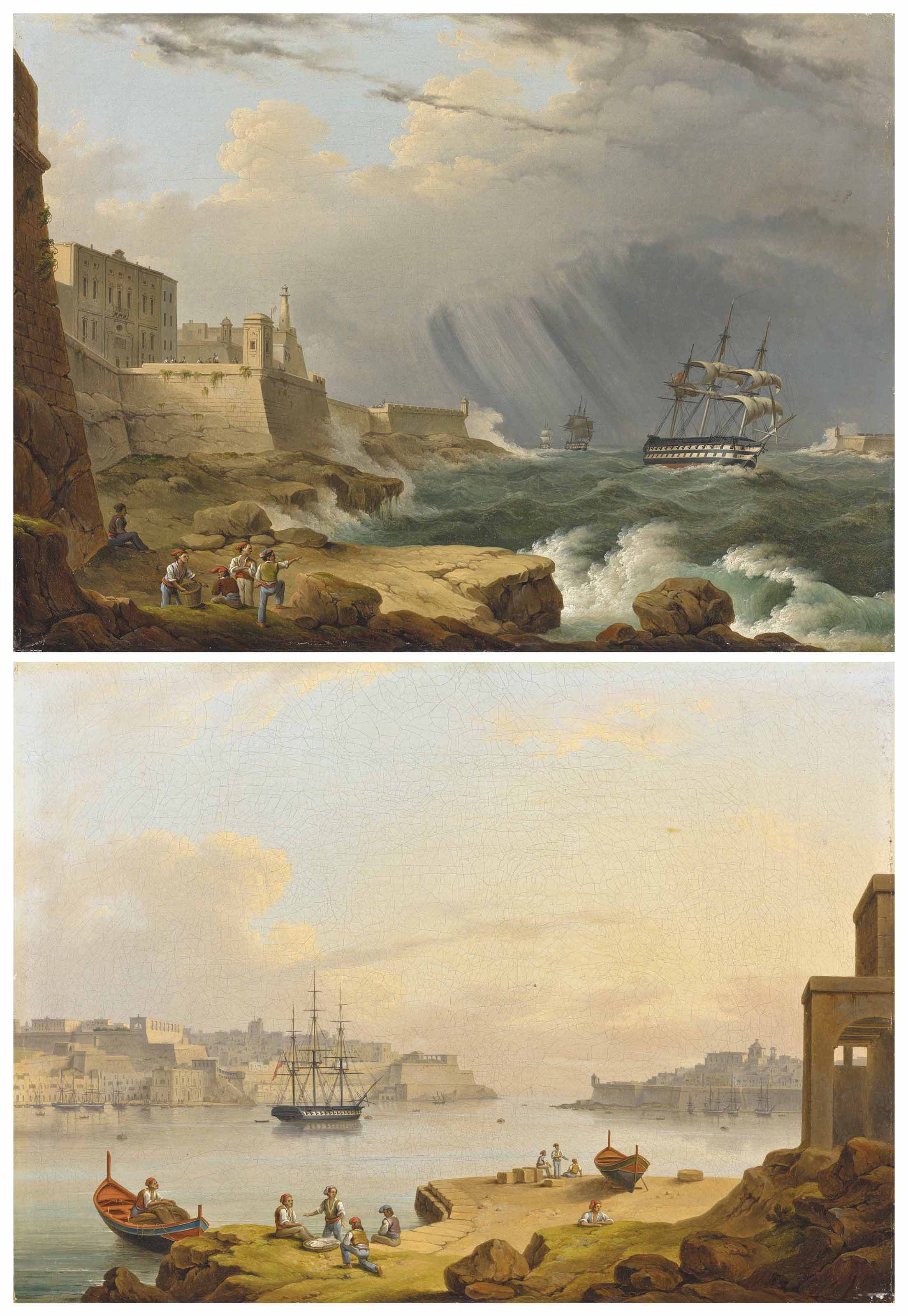A British frigate rounding Senglea Point, Valletta, Malta during a storm; and Valletta harbour, Malta, with a fifty-two-gun fourth-rate ship at anchor