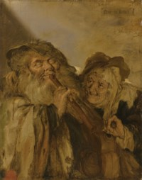 Fray en Leelijck: a blind man playing a pipe and a peasant woman playing a hurdy-gurdy