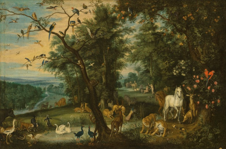 Jan Breughel the Younger (1601-1678), Paradise. Oil on canvas. 22⅜ x 33½  in (56.7 x 85.1  cm). Sold for £380,750 in Old Masters Evening Sale on 6 December 2018 at Christie's in London