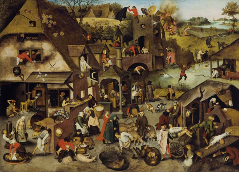 Pieter Brueghel, the Younger (15645-16378), The Netherlandish Proverbs. 47¾ x 65⅝  in (121.3 x 166.7  cm). Estimate £3,500,000-5,500,000. Offered in Old Masters Evening Sale on 6 December 2018 at Christie's in London