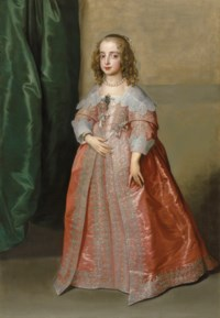Portrait of Princess Mary (1631–1660), daughter of King Charles I of England, full-length, in a pink dress decorated with silver embroidery and ribbons