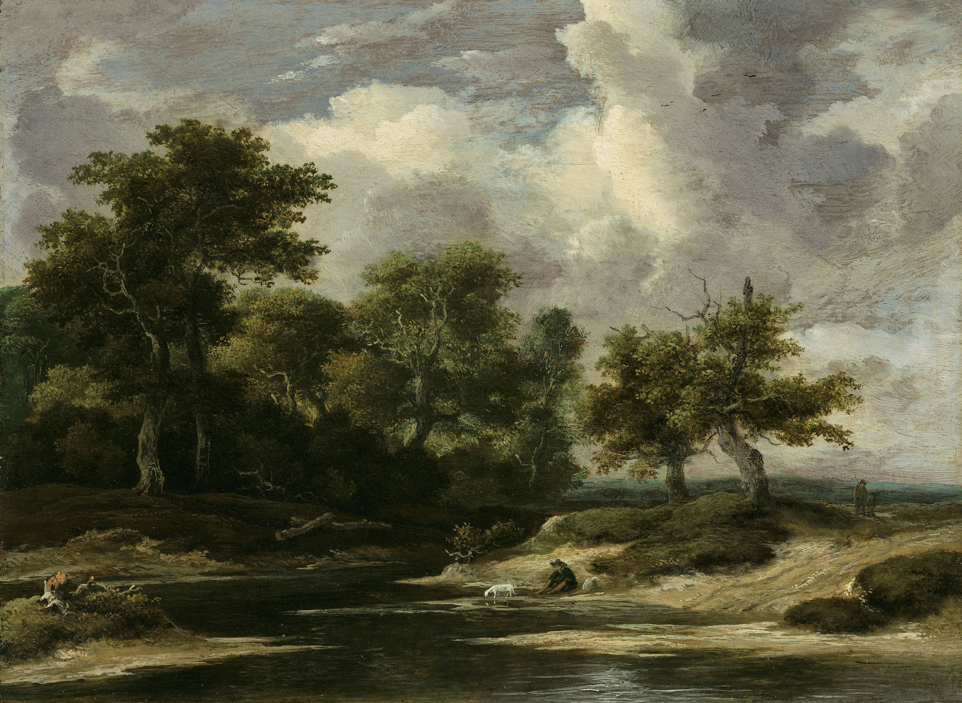 A wooded river landscape with a traveller and dog