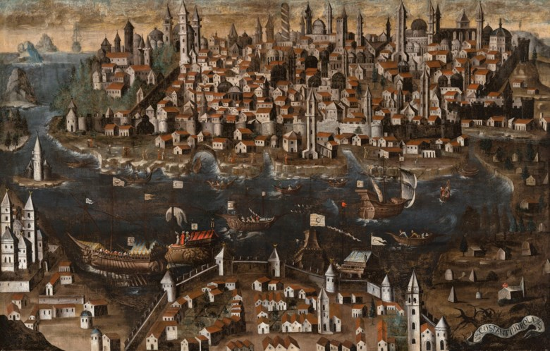 Italian School, View of Constantinople, circa 1600. Oil on canvas. 71¼ x 110  in (180.9 x 279.4  cm). Sold for £200,000 on 6 December 2018 at Christie's in London