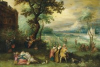 Elegant company making merry in an ornamental garden by a country house - an allegory of the five senses
