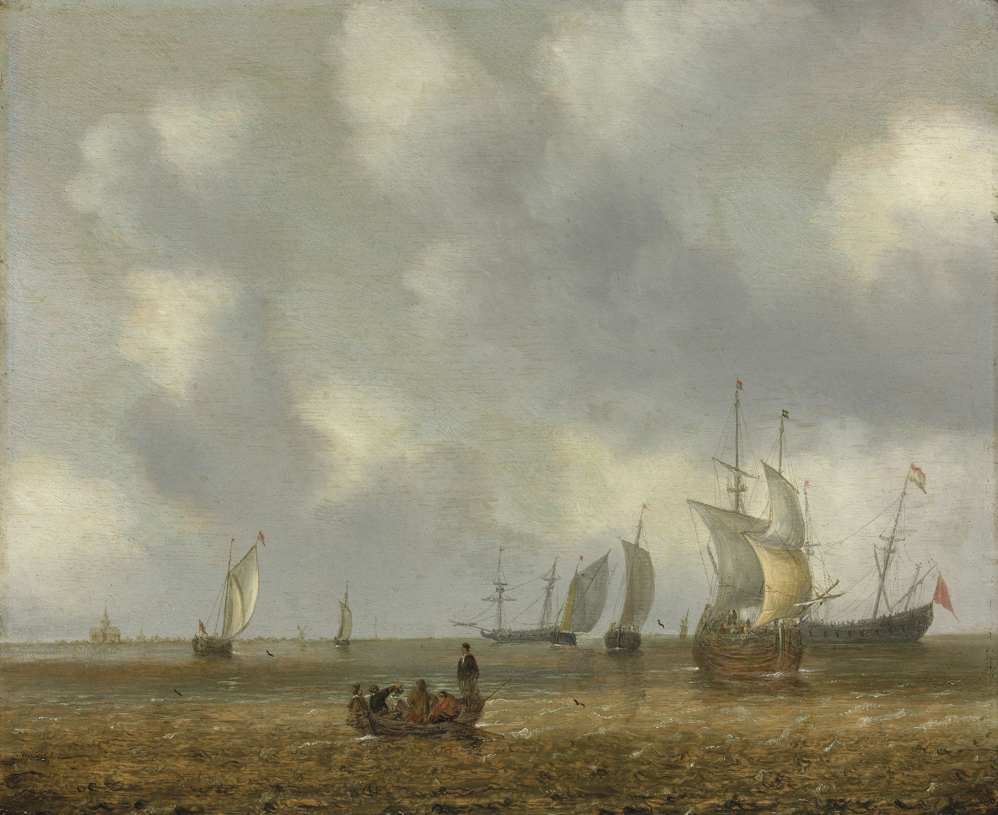 Shipping and vessels on a calm sea