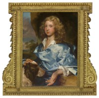 Portrait of a boy from the Ashley-Cooper family, half-length, wearing a blue wrap and a white shirt with a dog in a landscape