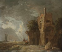 A stormy landscape with figures by ruins