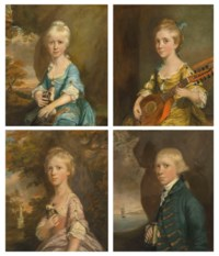 Four portraits of the children of William and Elizabeth Helyar: Joanna, aged 8; Harriet, aged 11; Edward, aged 18; and Bridget, aged 13