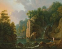 A mountainous river landscape based on the Dargle Valley in County Wicklow, with anglers
