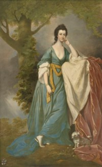 Portrait of Abigail Holroyd, née Way, later Countess of Sheffield (1746-1793), full-length, in a blue dress, with a dog, in a landscape