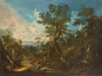 An extensive wooded landscape with travellers; and An extensive wooded landscape with travellers resting