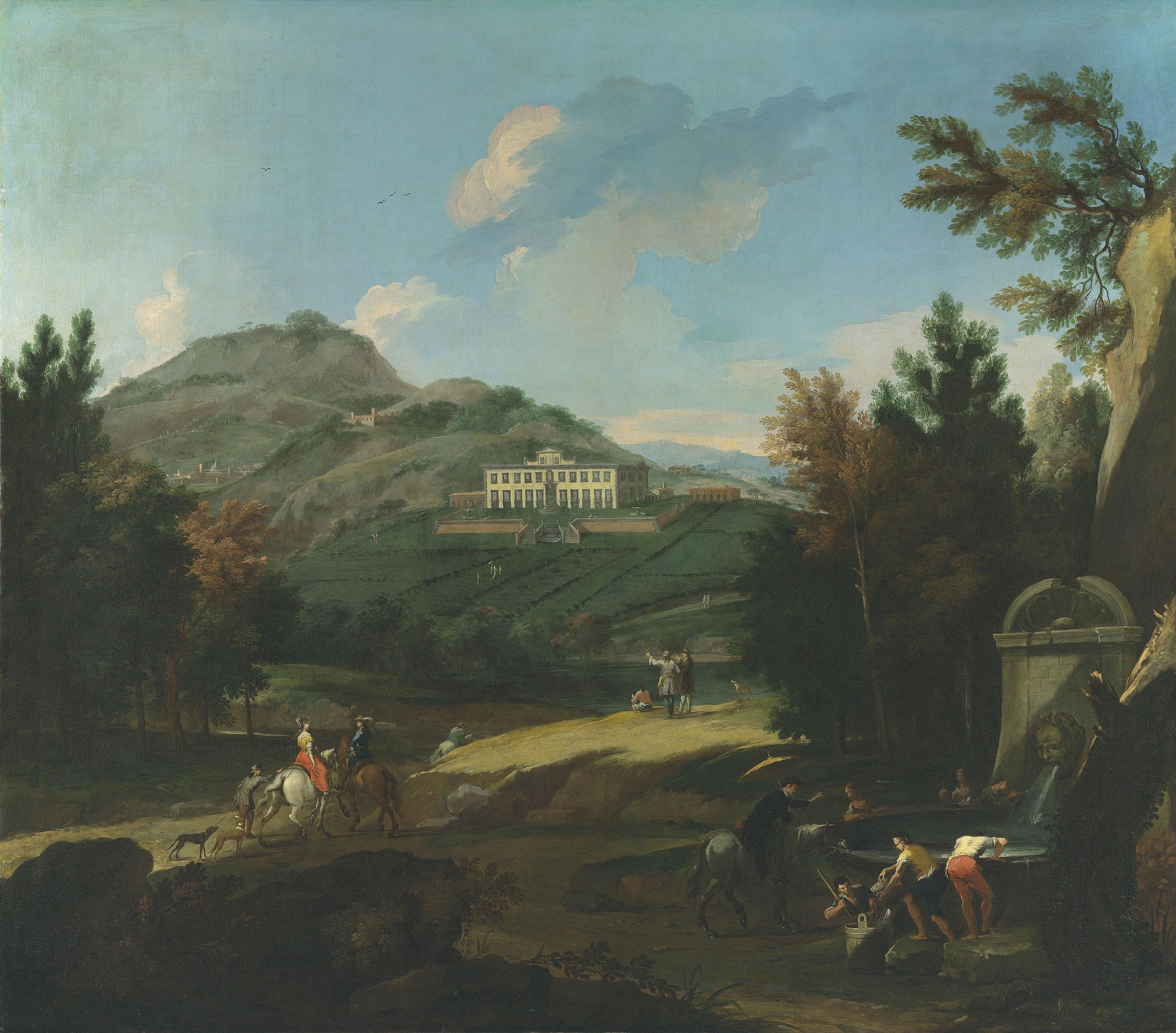 Villa del Barone at Montemurlo, Prato, with travellers