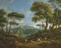 An Arcadian landscape with shepherds and shepherdesses