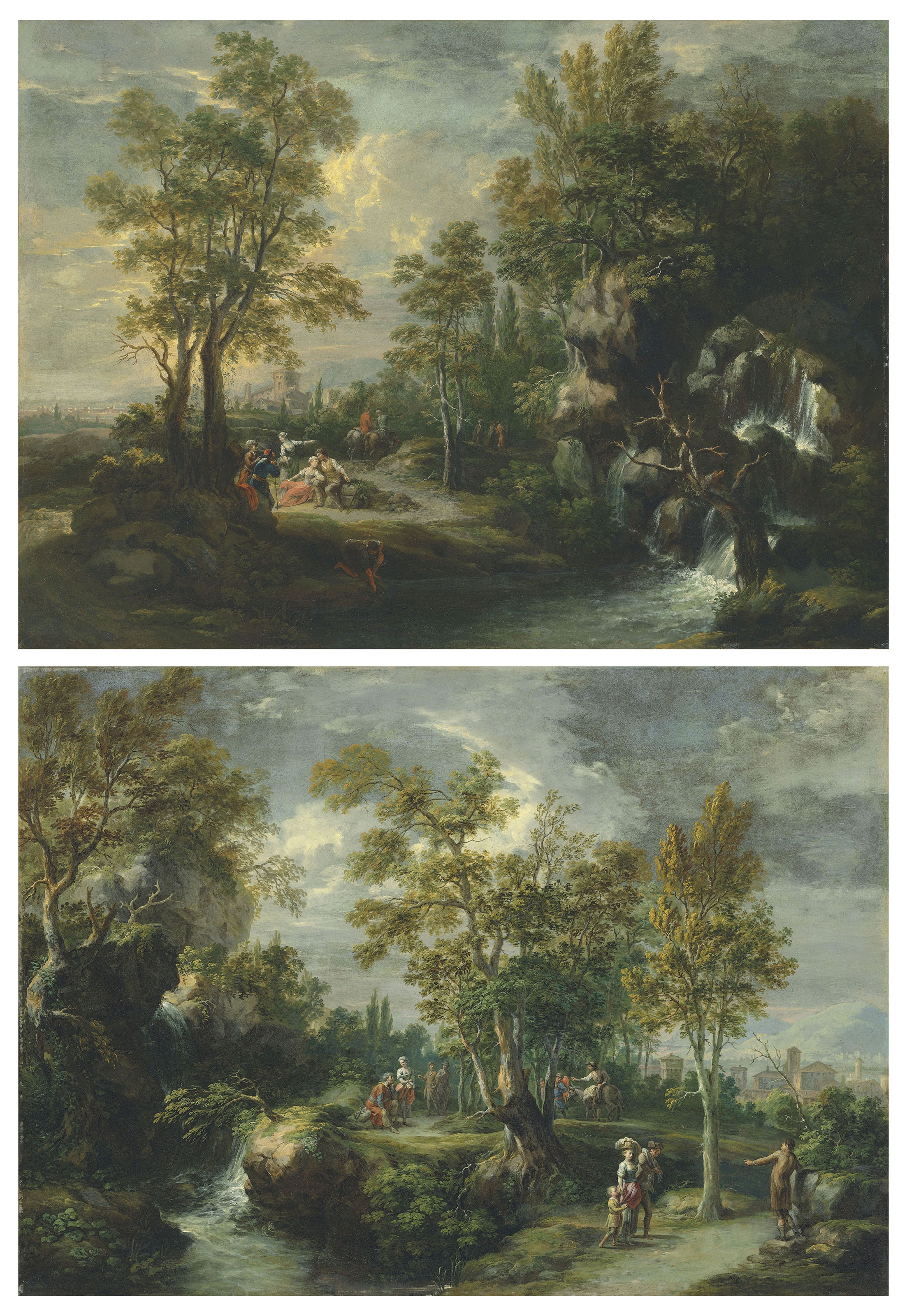 An extensive wooded landscape with figures by a waterfall, a town beyond; and Travellers resting by a waterfall, a town beyond