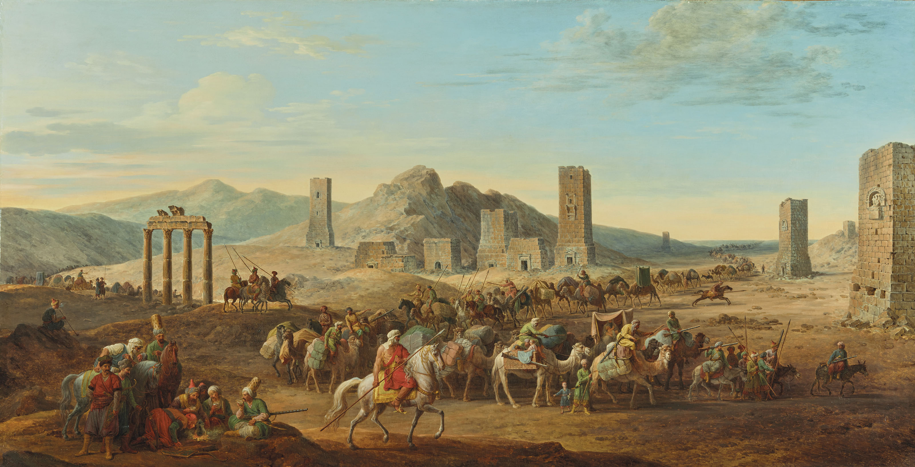 A desert landscape with travellers passing through the Valley of the Tombs, Palmyra