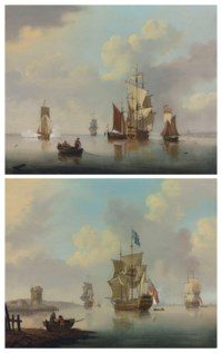 Ships of the Red Squadron at anchor, one firing a salute as she prepares to leave the anchorage; and An English third-rate of the Red Squadron at anchor off the Low Countries, surrounded by coastal craft and with an Admiralty yacht firing a salute off her stern