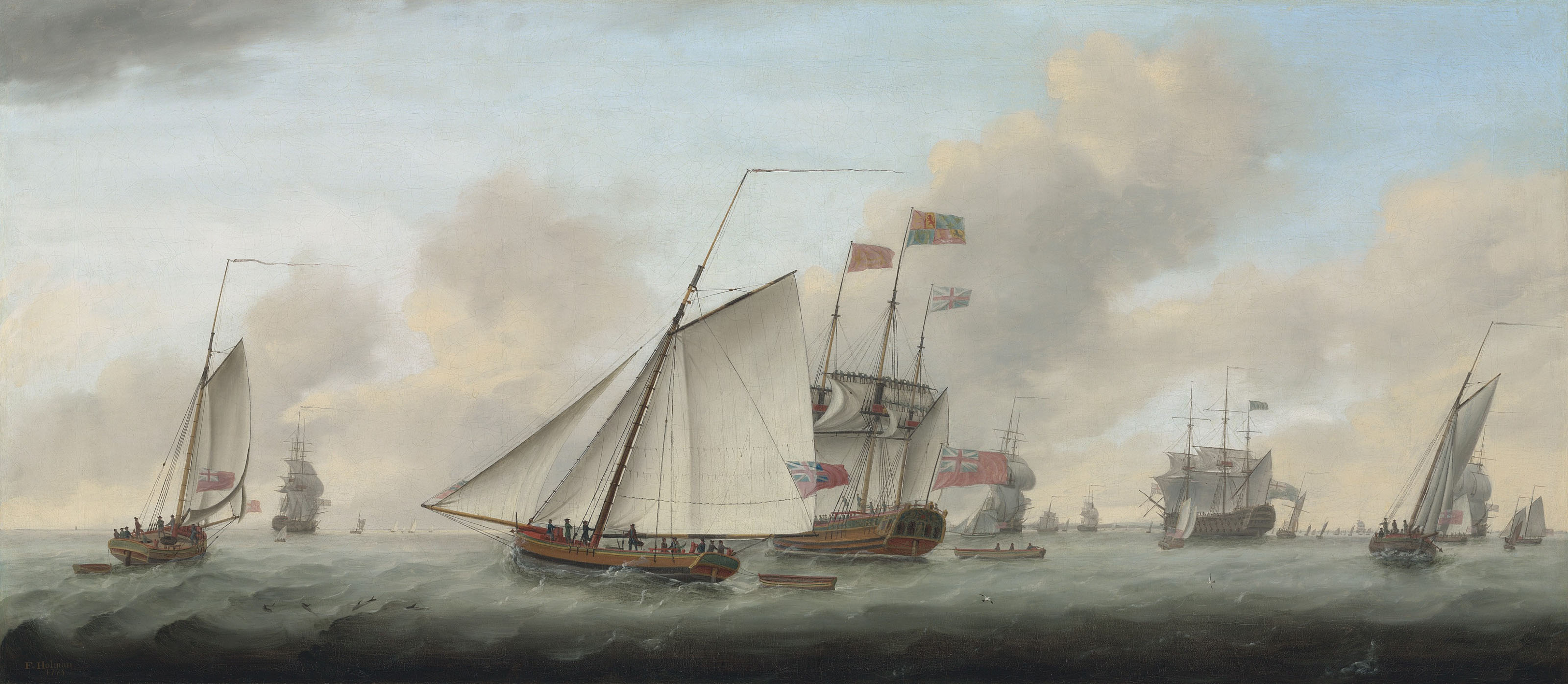 The Royal Yacht Princess Augusta with His Majesty King George III on board, reviewing his fleet at Spithead on 25 June 1773