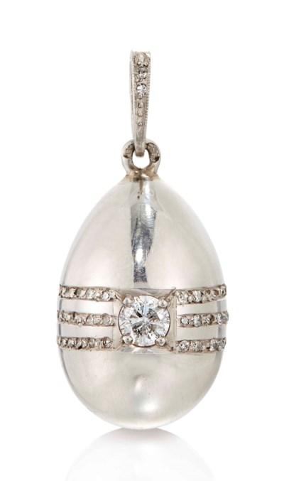 A PLATINUM AND DIAMOND EGG PEN