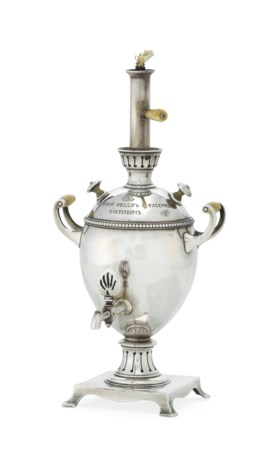 A SILVER CIGARETTE LIGHTER IN THE FORM OF A MINIATURE SAMOVAR