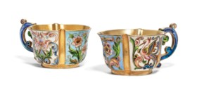 TWO SILVER-GILT AND CLOISONNÉ ENAMEL CUPS
