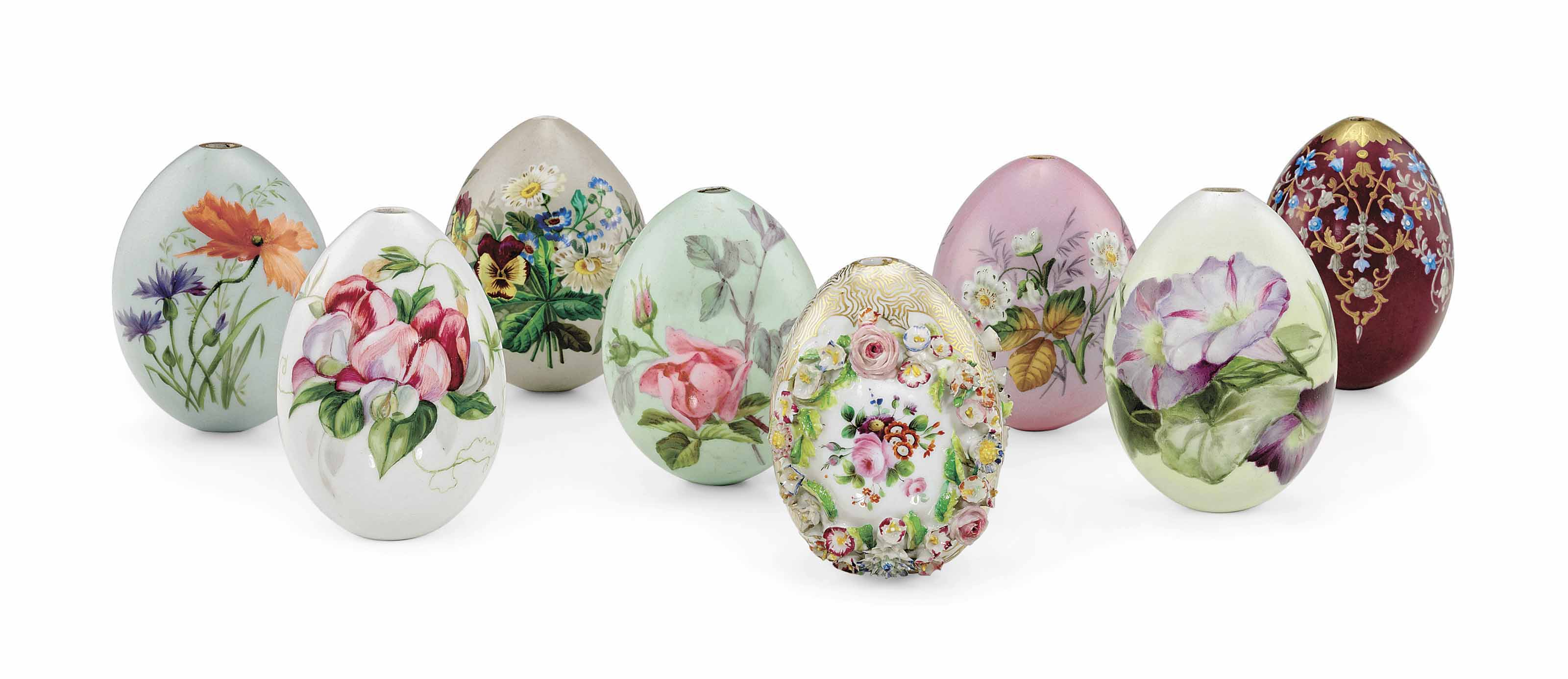 A GROUP OF EIGHT PORCELAIN EASTER EGGS