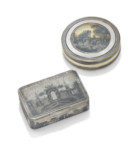 TWO PARCEL-GILT SILVER AND NIELLO SNUFF BOXES