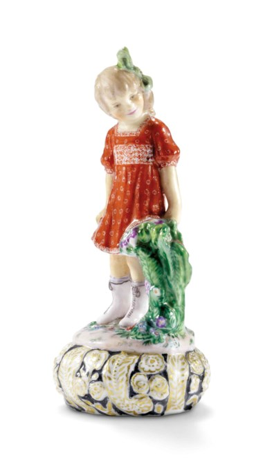 A porcelain figure 'Marochka', by the State Porcelain Factory, Petrograd, 1922. After a model by Natalia Danko. 3⅞  in (9.8  cm) high. Sold for £118,750 on 4 June 2018 at Christie's in London