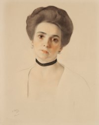 Portrait of a lady with a black choker