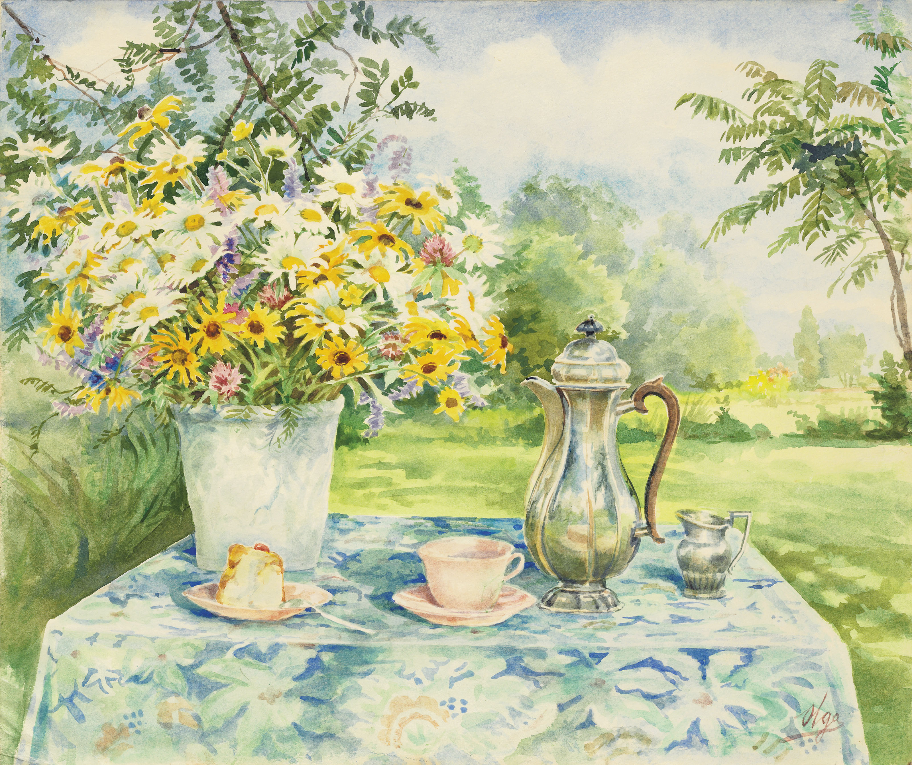Still life with coffee pot and summer flowers