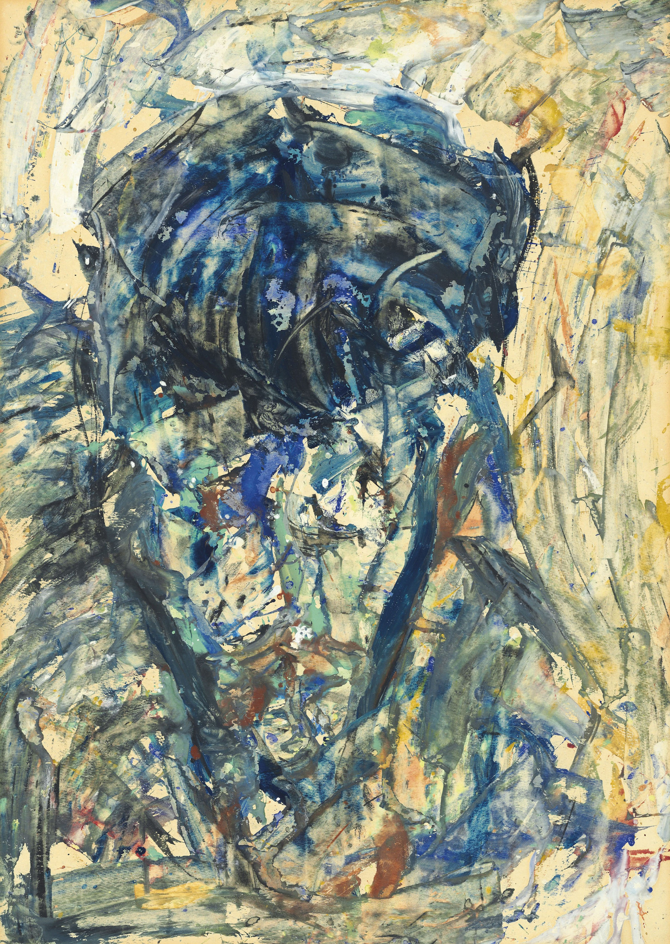 Blue portrait; and three other works