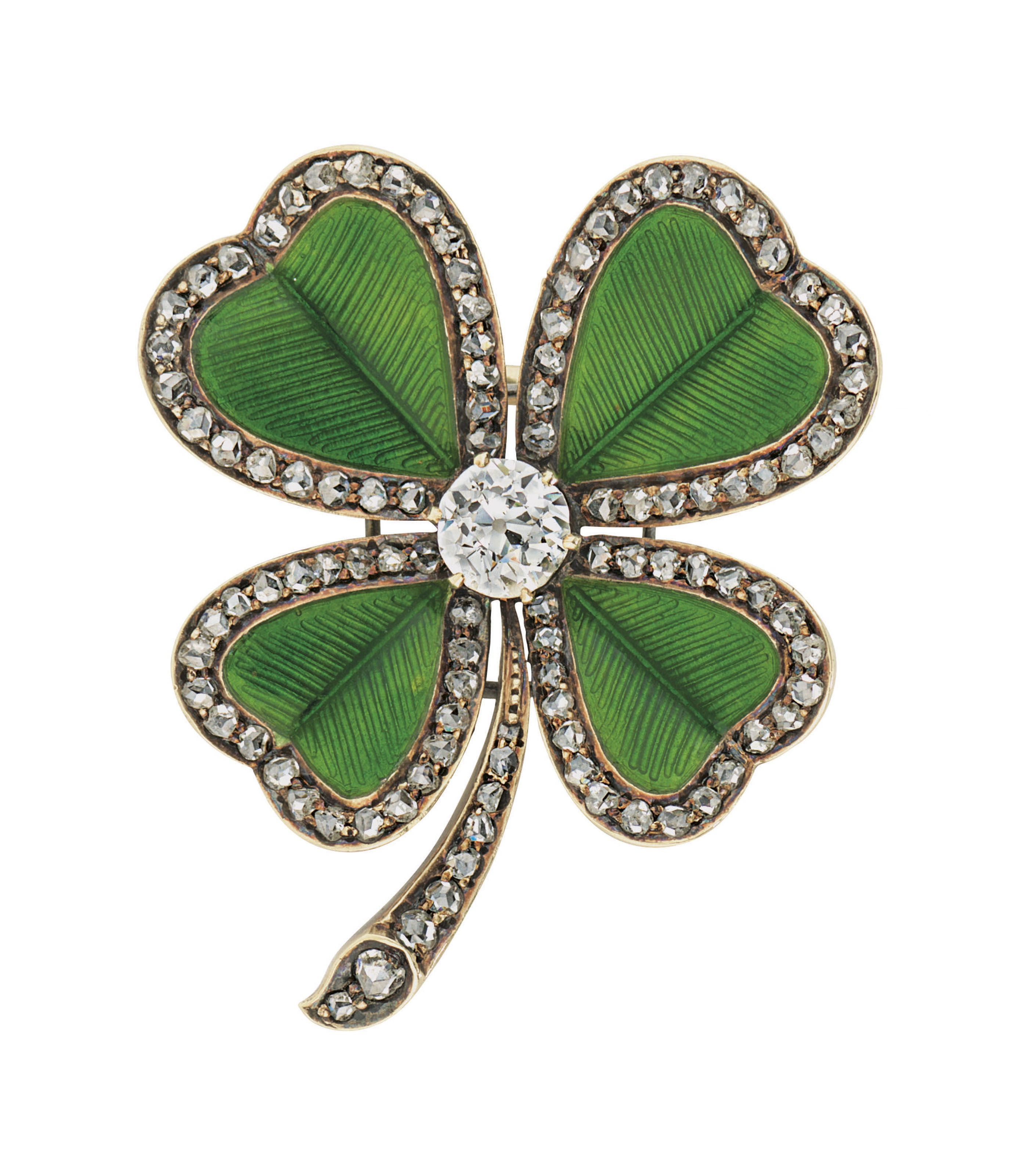 A JEWELLED AND GUILLOCHÉ ENAMEL GOLD BROOCH
