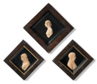 THREE RARE WAX PORTRAIT RELIEFS