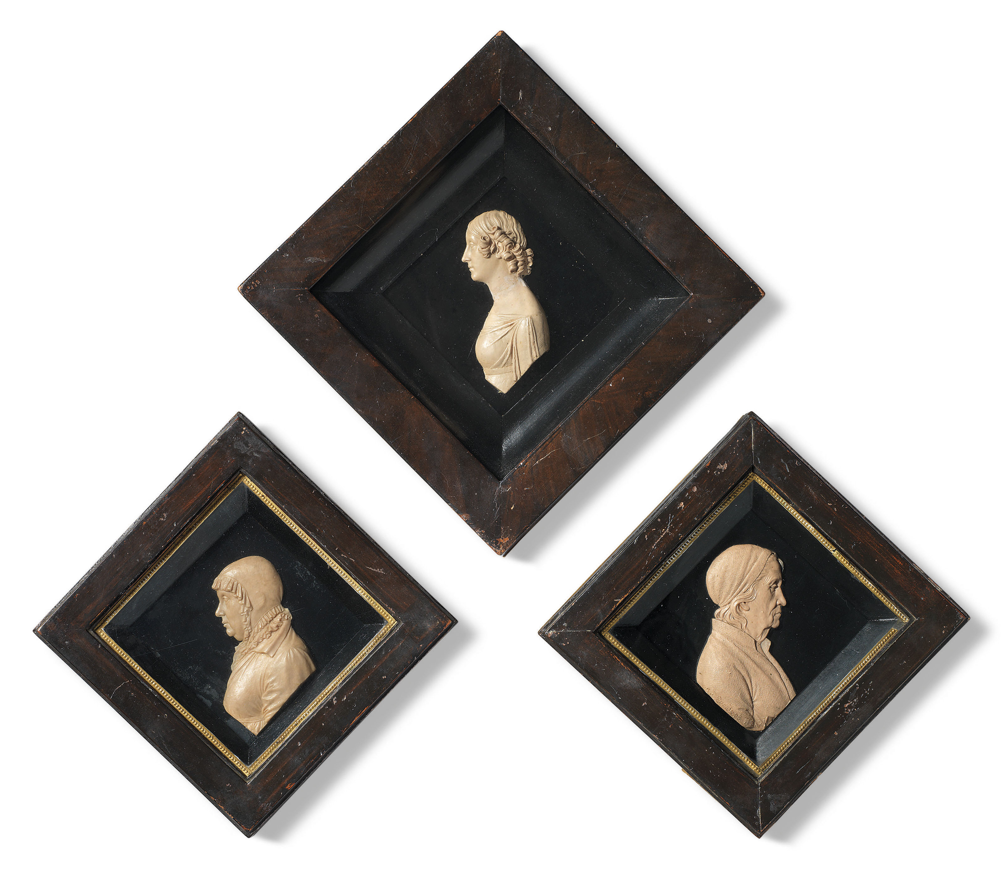 THREE RARE WAX PORTRAIT RELIEFS