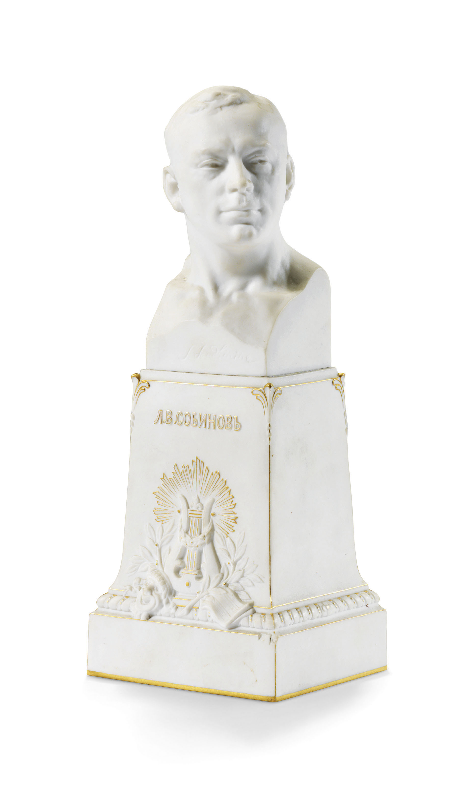 A BISCUIT PORCELAIN BUST OF LE