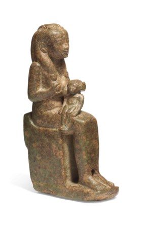 AN EGYPTIAN PERIDOTITE FIGURE OF HEDEDET AND HORUS