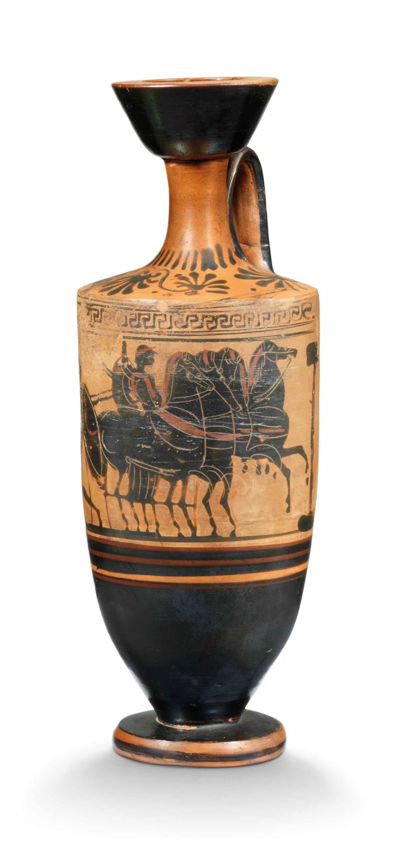 An Attic black-figured white-ground Lekythos, Circa 500 BC. 9¾  in (24.8  cm) high. Sold for£6,875 on 3 July 2018 at Christie's in London