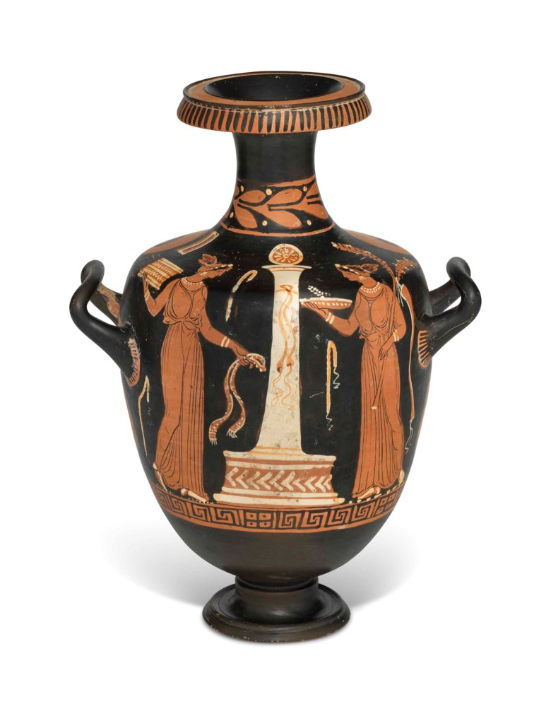 An Apulian red-figured Hydria, attributed to the Patera Painter, circa 330 BC. 13¾  in (35  cm) high. Sold for £10,000 on 3 July 2018 at Christie's in London